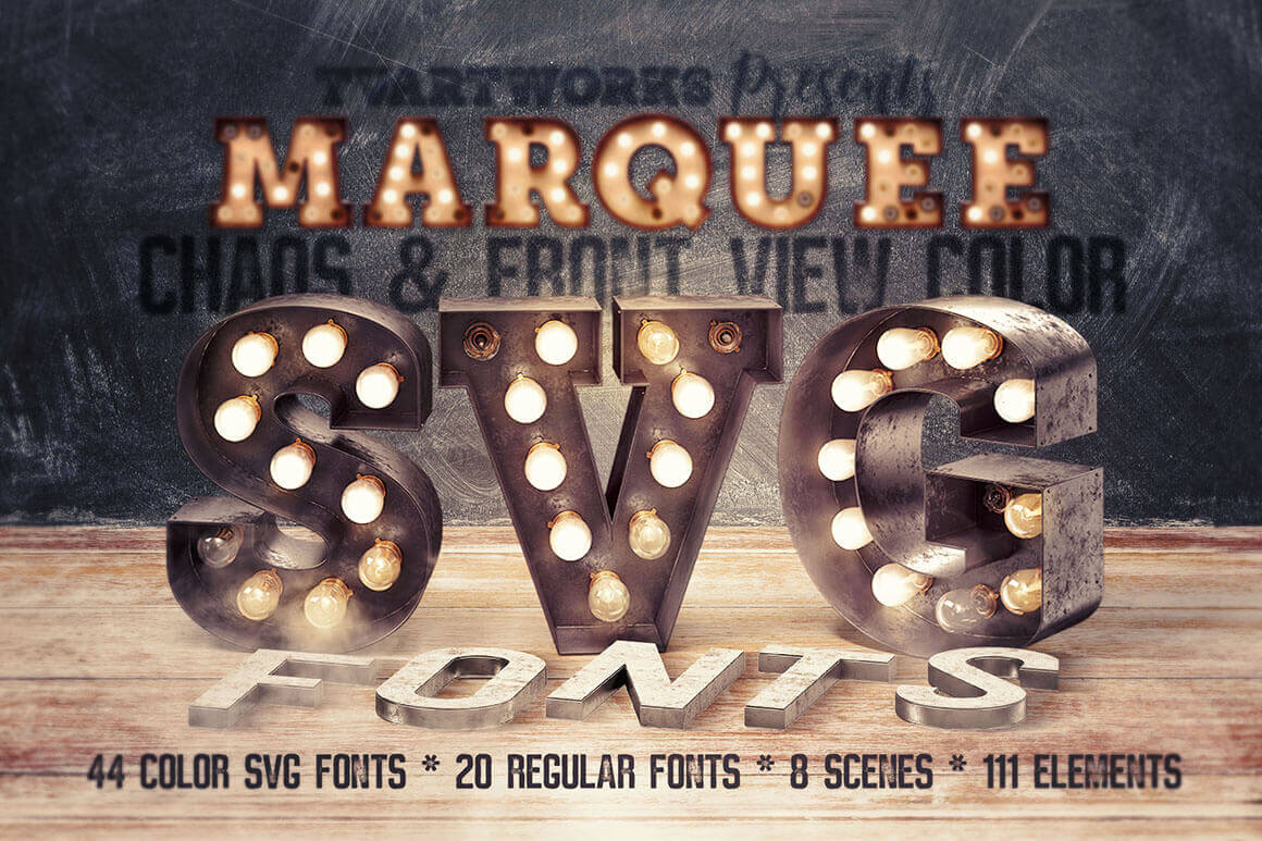 Fun and Unique Marquee Light Bulbs Color Font Collection – only $12!