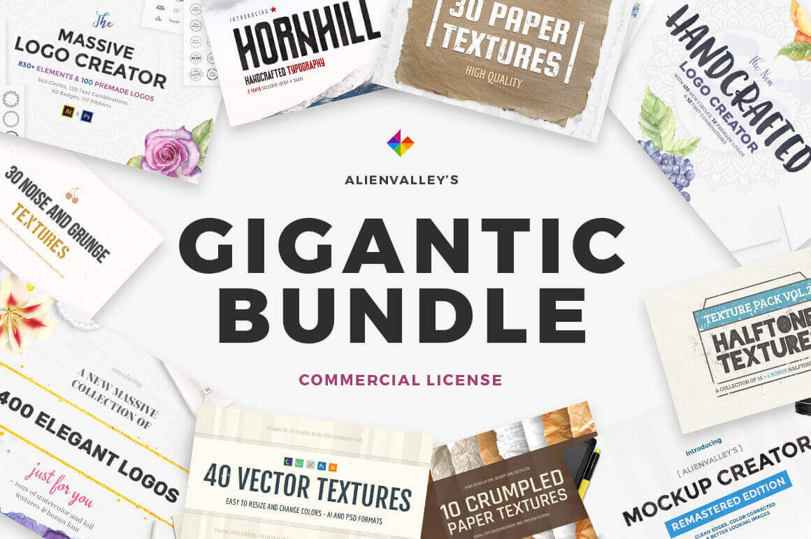 Gigantic Bundle of 1000+ Logos, Elements, Mockups, Textures – only $19!