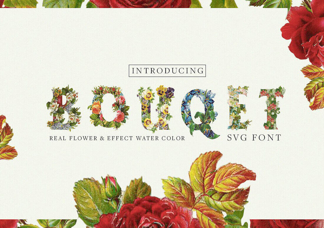 Realistic and Watercolor Flower Fonts – only $7!