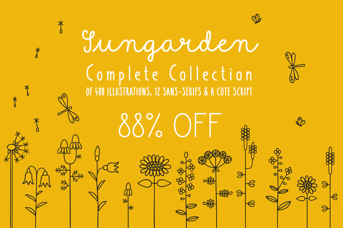 The Sungarden Collection of 400 Flowery Hand-Drawn Illustrations in 8 Fonts – only $12!