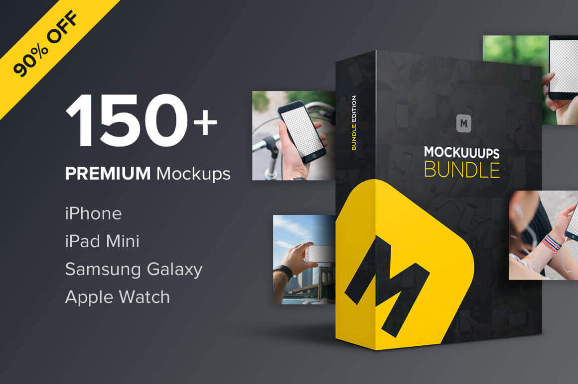 150+ Premium Device Mockups: iPhone, iPad, Apple Watch & More – only $14!
