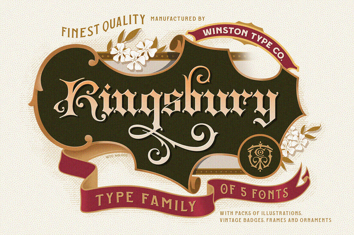 Kingsbury Font Family & Design Bundle of Royal Beauty – only $9!