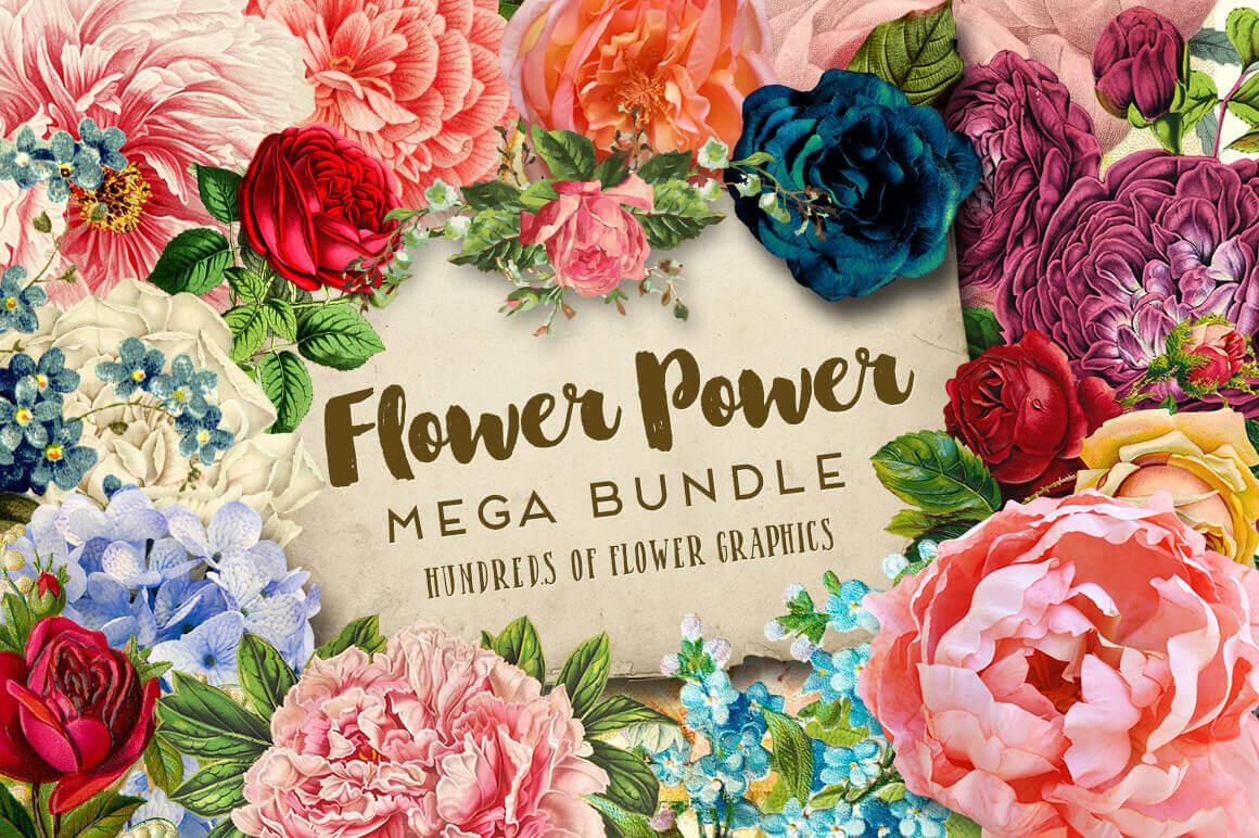 Mega Bundle of Gorgeous Flower Graphics – only $19!