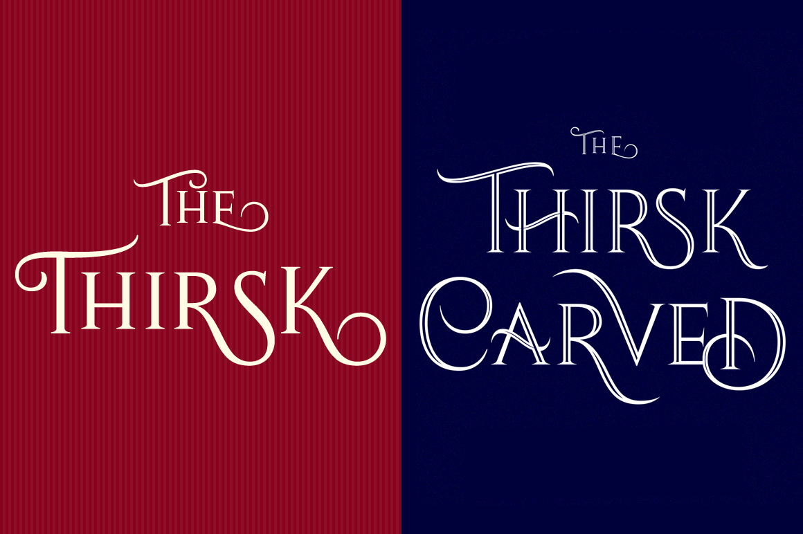 Thirsk: 4 Stunning Serif Fonts with Swashes – only $9!