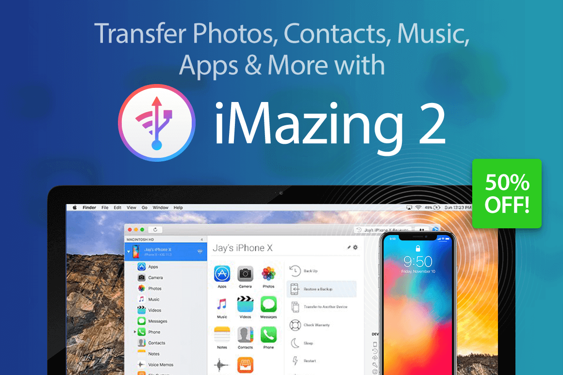Transfer Photos, Contacts, Music, Apps & More with iMazing 2 – 50% off!