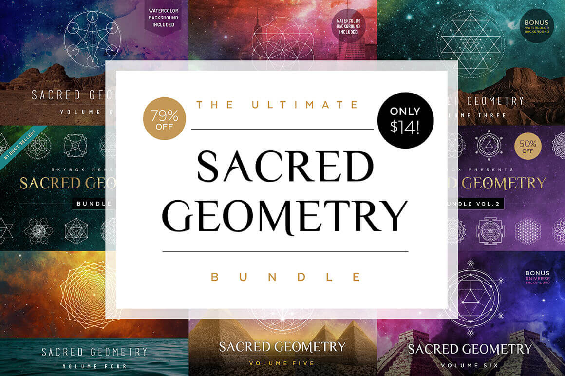 Ultimate Sacred Geometry Bundle of 50+ Customizable Vectors – only $14!