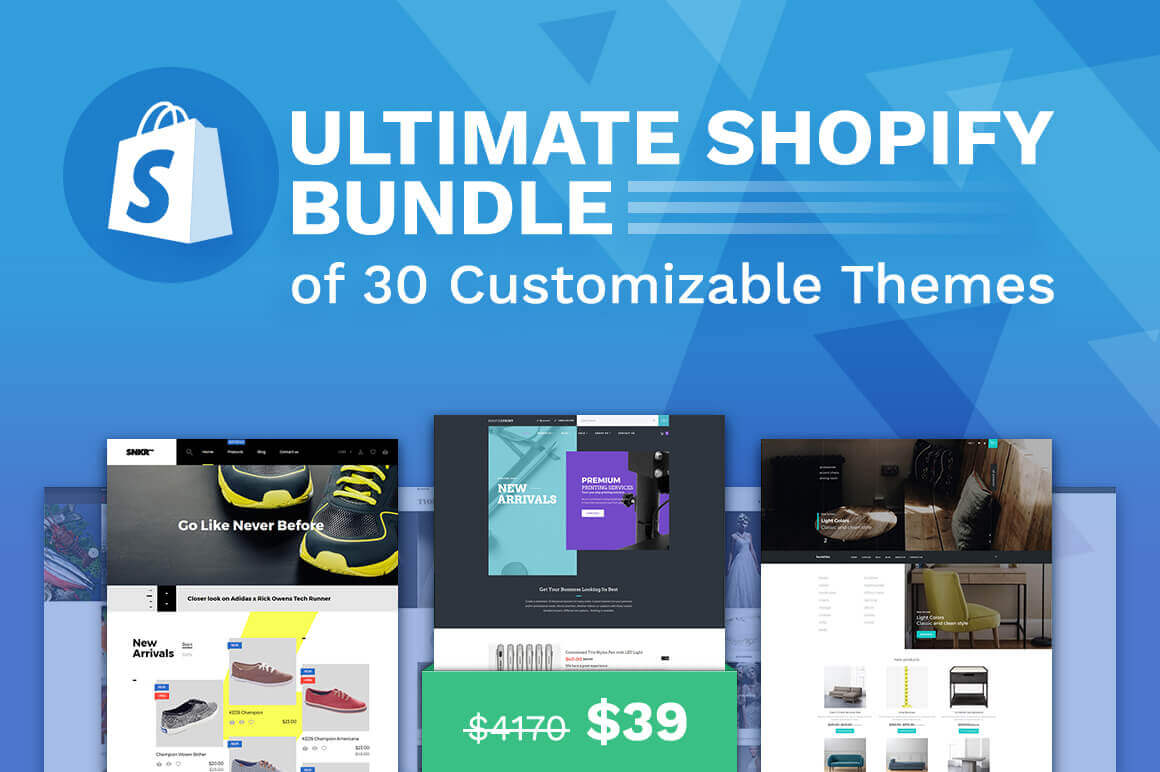 Ultimate Shopify Bundle of 30 Customizable Themes - only $39!
