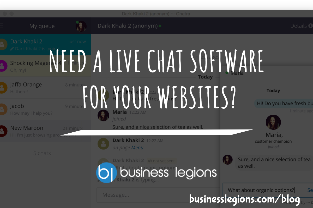 NEED A LIVE CHAT SOFTWARE FOR YOUR WEBSITES