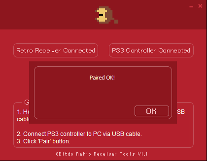 The 8BitDo and the PS3 Controller are now connected paired ok