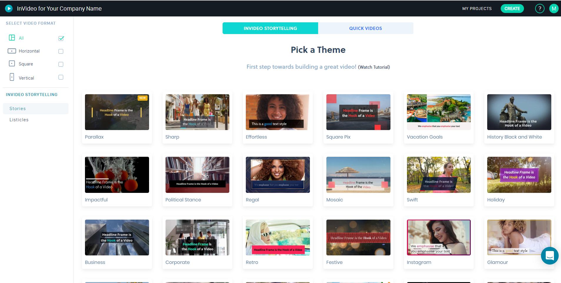 Business Legions - InVideo Dashboard Select Theme