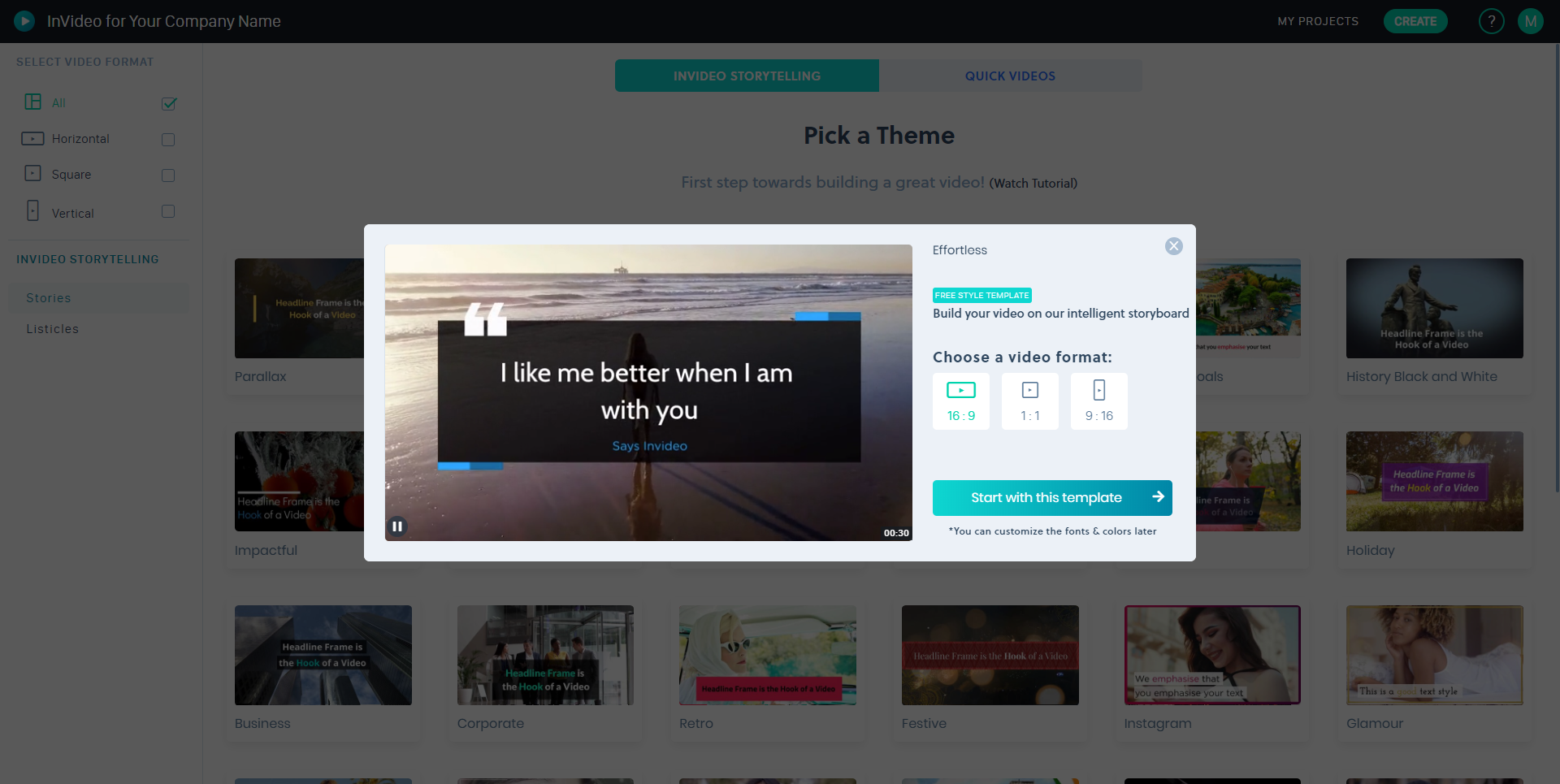Business Legions - InVideo Dashboard Select Theme Template