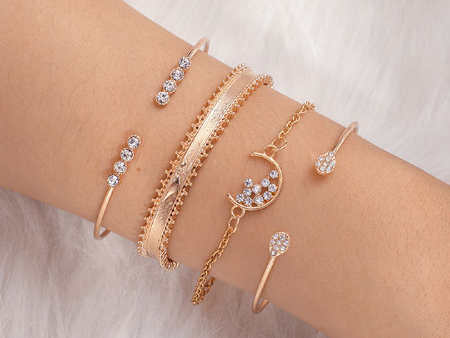 14K Gold-Plated White Crystal Celestial 4-Piece Bangle Set for $12
