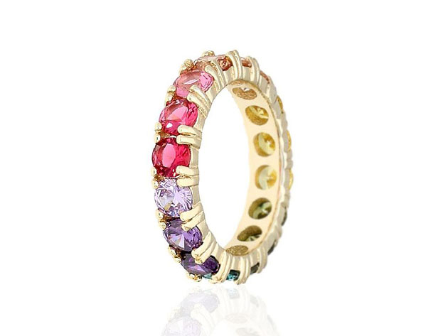 Round Cut Multicolored Gemstones Eternity Band in Sterling Silver  for $27
