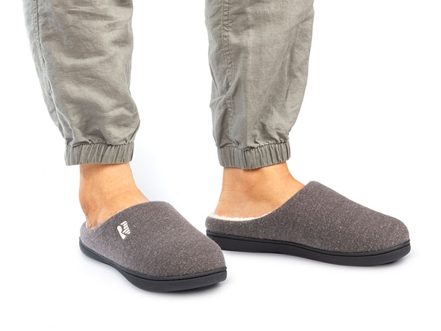 Men's Original Two-Tone Memory Foam Slippers (Gray/Natural, Size 9-10) for $14