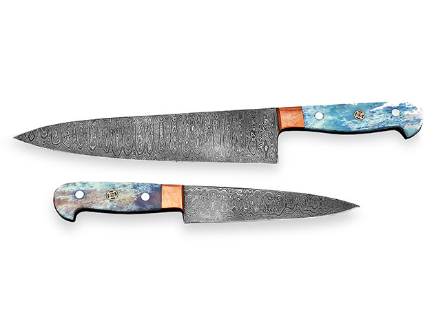 Damascus Chef Knives: 2-Piece Set for $59