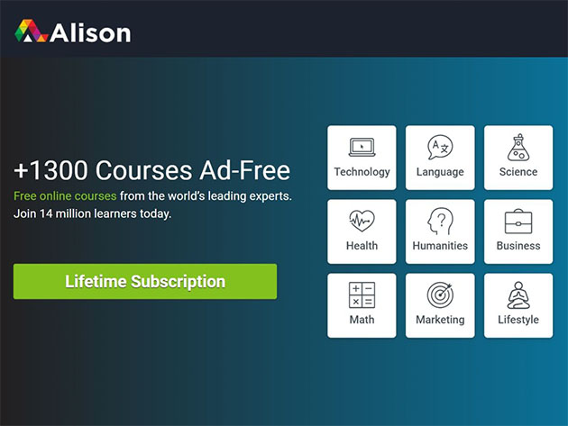 Alison Ad-Free eLearning Experience: Lifetime Ad-Free Subscription for $99