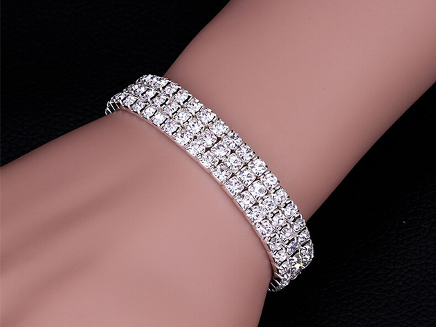 Sparkling SIlver Layer Crystal Tennis Bracelet  for $11