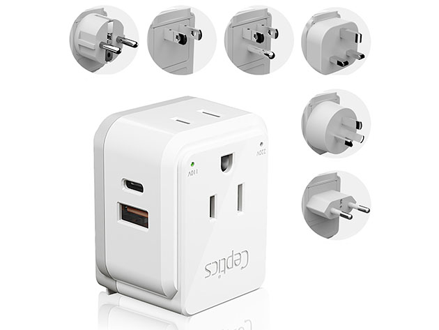 World Travel Plug Adapter + 6 Attachments for $24