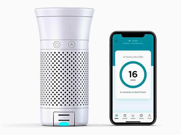 Wynd Plus: Smart Personal Air Purifier with Air Quality Sensor for $174