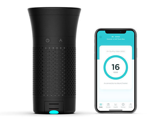 Wynd Plus: Smart Personal Air Purifier with Air Quality Sensor (Black) for $174