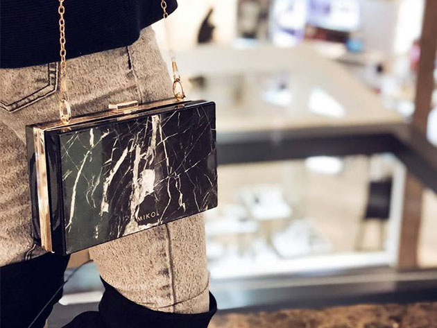 Mish Nero Marquina Marble Clutch for $440