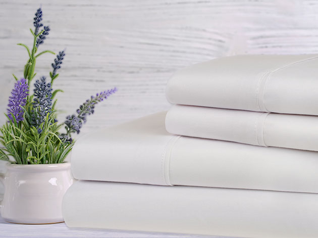 Bamboo 4-Piece Lavender Scented Sheet Set (White) for $29