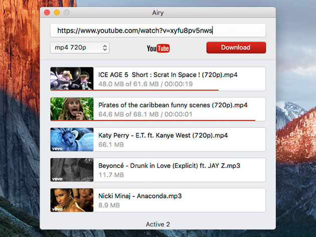Airy YouTube Video & MP3 Downloader for Mac: Family Pack License for $14