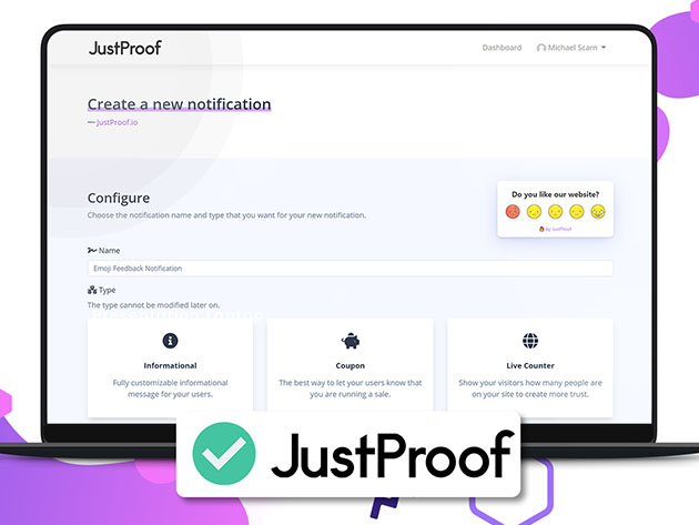 JustProof Social Proof Notifier Startup Plan: 3-Yr Subscription for $29