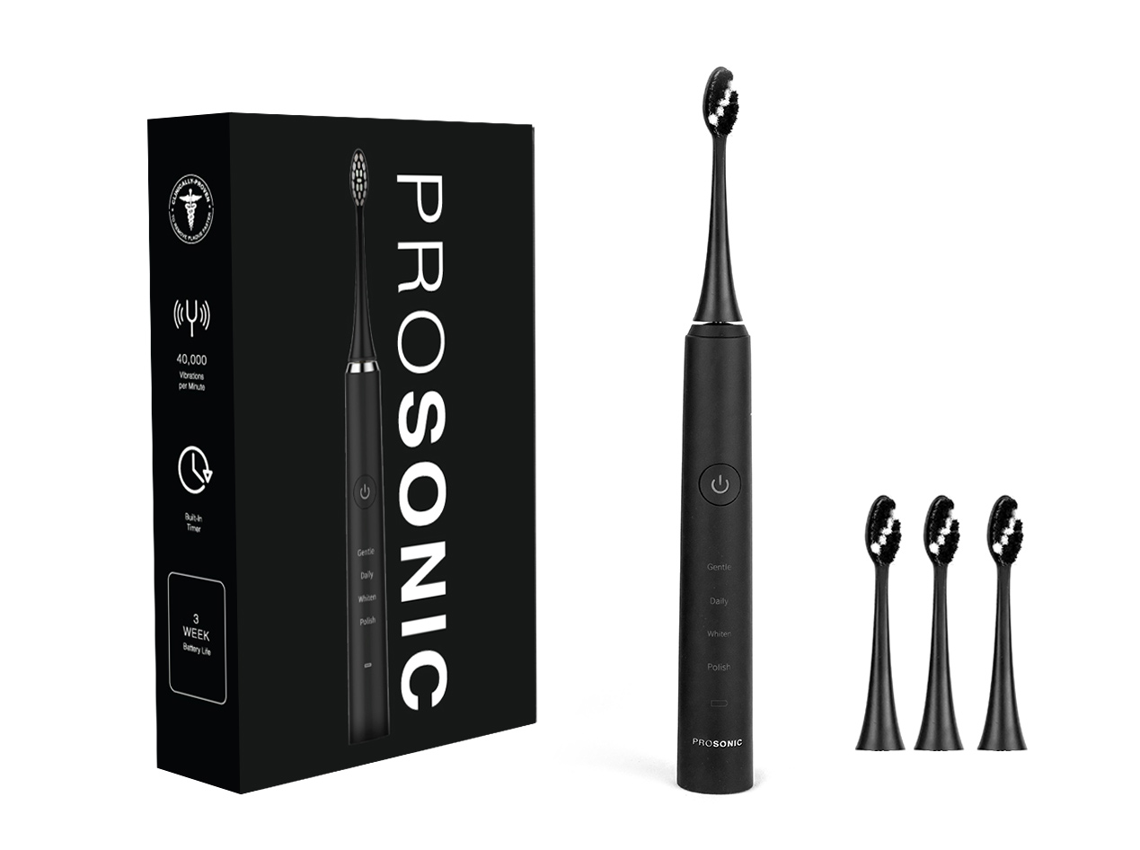 ProSonic Ultra Whitening Sonic Toothbrush with 4 Brush Heads: 2-Pack for $54