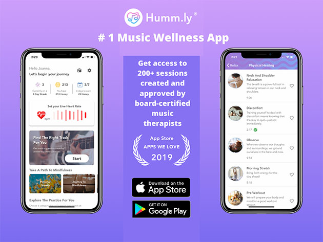 Humm.ly -Live Better with Music App: Lifetime Subscription for $39