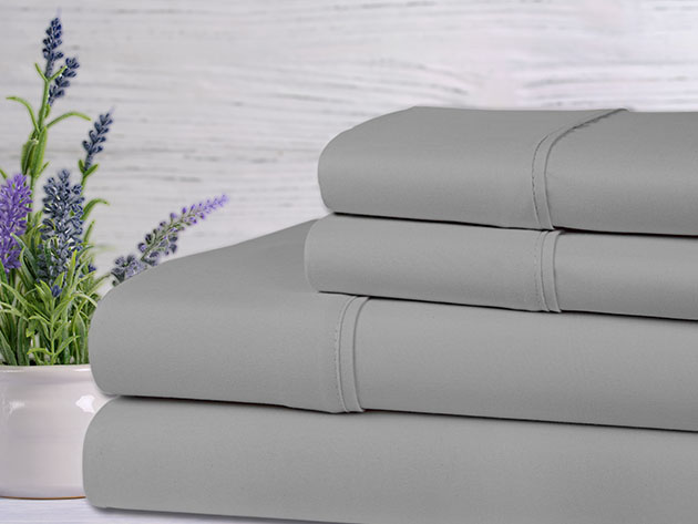 Bamboo 4-Piece Lavender Scented Sheet Set (Silver) for $29