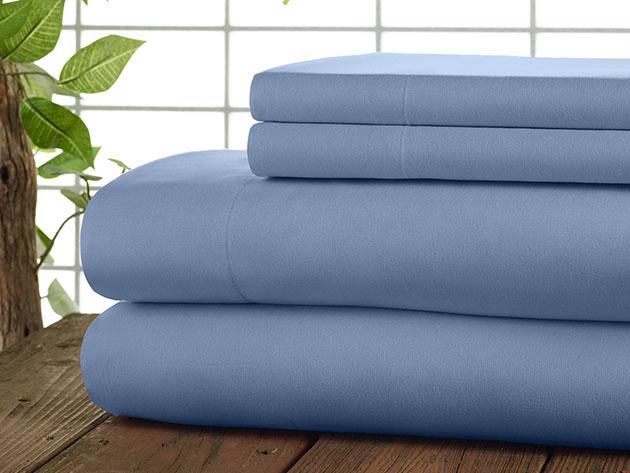 Kathy Ireland 4-Piece CoolMax Sheet Set (Blue) for $32