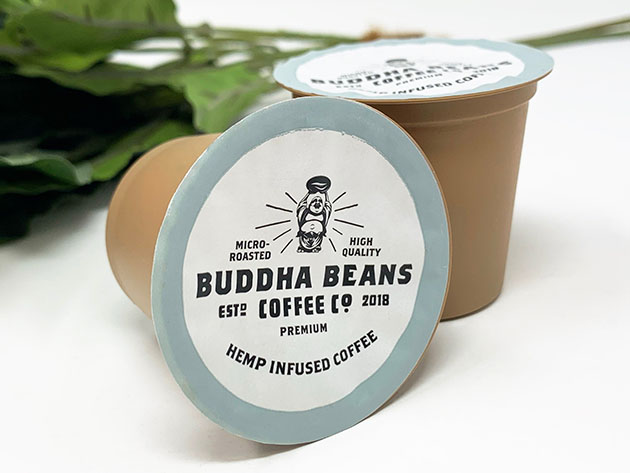 Buddha Beans Coffee Co. CBD Infused Compostable K-Cups – 5 Pack for $14