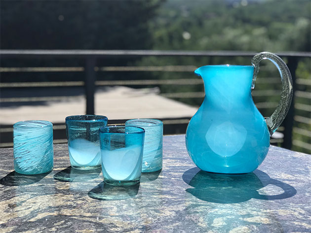 Handblown Glass Aqua Pitcher for $47