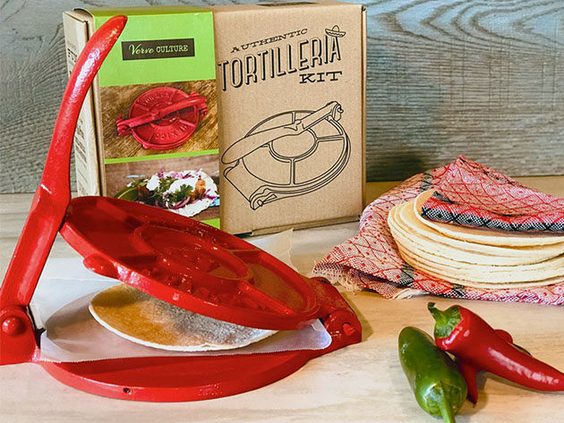 Tortilla Press Kit: Red Cast Iron with Servietta for $40