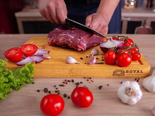 Bamboo Butcher Block with Juice Groove for $19