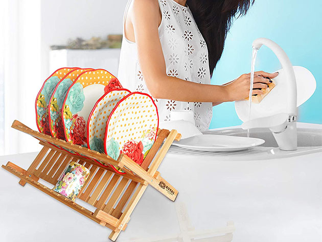 Bamboo 2-Tier Dish Drying Rack for $19