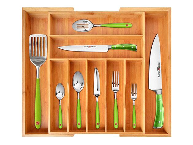 Bamboo Kitchen Drawer Organizer for Utensils for $29