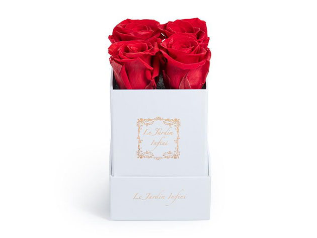 Preserved Roses in Small Square Classic White Box  for $57
