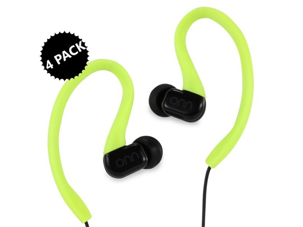 ONN In-Ear Sport Wired Headphones with In-Line One-Touch Microphone 4-Pack for $19