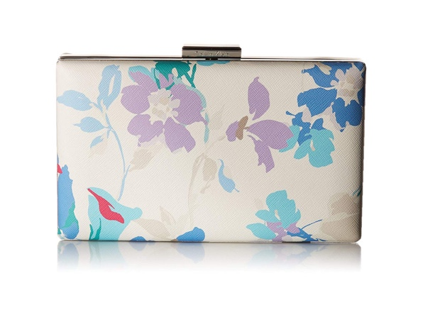 Calvin Klein Small Floral Saffiano Leather Clutch for $39