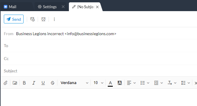 Business Legions ZOHOMAIL incorrect email address compose