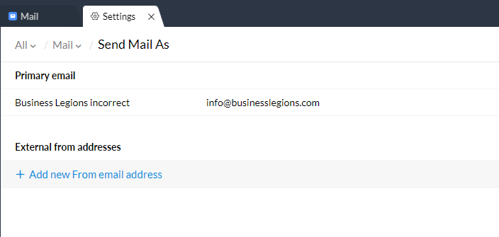 Business Legions ZOHOMAIL incorrect email address