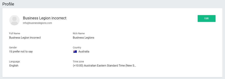 Business Legions ZOHOMAIL profile details