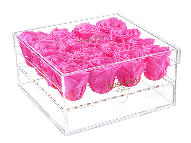 Rose Box™ Premium Jewelry Box & Neon Pink Everlasting Roses  for $259