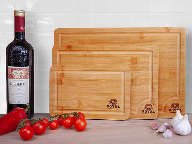 Bamboo Butcher Blocks with Juice Groove & Side Handles: Set of 3 for $24