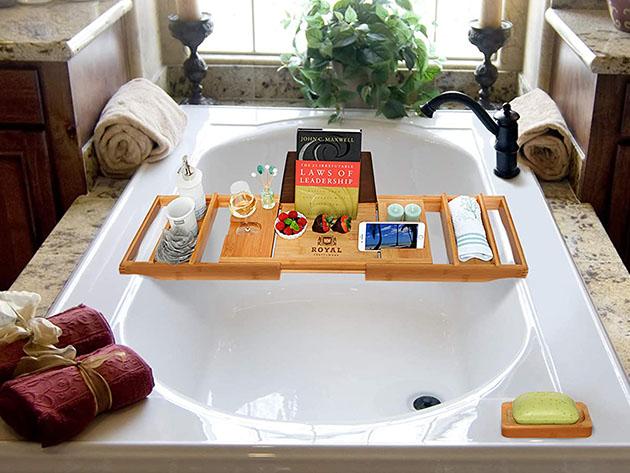 Luxury 100% Bamboo Bathtub Caddy Tray for $46
