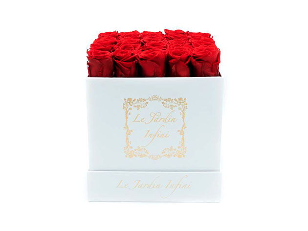 Preserved Roses in Medium Square Classic White Box  for $144