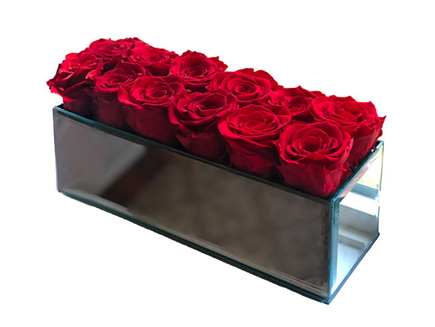 Rose Box™ Mirrored Table Centerpiece & 12 Everlasting Roses for $219