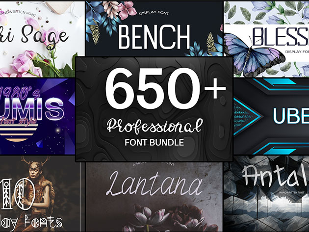 650+ Professional Font Bundle for $29